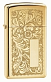 SKU-1652B  VENETIAN SLIM HIGH POLISH BRASS ZIPPO LIGHTER