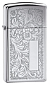 SKU-1652  VENETIAN SLIM HIGH POLISH CHROME ZIPPO LIGHTER