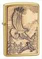 SKU-20854  WHERE EAGLES DARE EMBLEM BRUSHED BRASS ZIPPO LIGHTER (RETAIL PRICE IS $37.95)