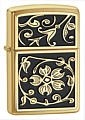 SKU-20903  GOLD FLORAL FLUSH EMBLEM BRUSHED BRASS ZIPPO LIGHTER