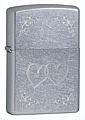 SKU-24016  HEART TO HEART STREET CHROME ZIPPO LIGHTER