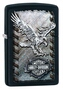 SKU-28485 BLACK MATTE EAGLE SHIELD HARLEY DAVIDSON ZIPPO LIGHTER