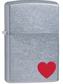 SKU-29060 STREET CHROME WITH HEART ZIPPO LIGHTER