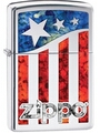 SKU-29095 US FLAG WITH ZIPPO HIGH POLISH CHROME ZIPPO LIGHTER