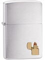 SKU-29102 BRUSHED CHROME WITH PIPE EMBLEM ZIPPO LIGHTER
