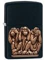 SKU-29409 SEE HEAR SPEAK NO EVIL EMBLEM ZIPPO LIGHTER