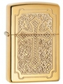 SKU-29436 DEEP CARVED CROSS ARMOR ZIPPO LIGHTER