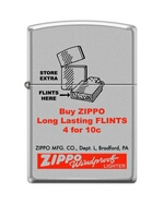 SKU-818831 ZIPPO FLINTS 4 FOR 10 CENTS OLD SELL SHEET ZIPPO LIGHTER
