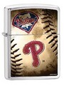 SKU-845545--ZIPPO BRUSHED CHROME FINISH MLB PHILADELPHIA PHILLIES BASEBALL ZIPPO LIGHTER