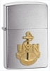 SKU-280ANC  NAVY ANCHOR EMBLEM BRUSHED CHROME ZIPPO LIGHTER (RETAIL PRICE IS $29.95)